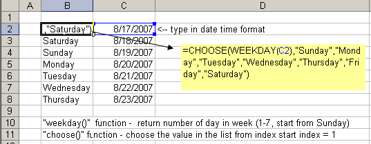Find Weekday from Date
